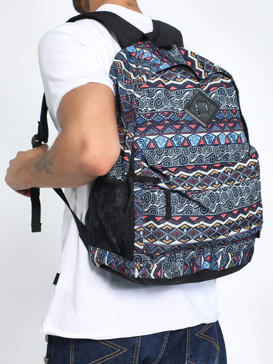 KOOVS Multi Tapestry Print Backpack 1