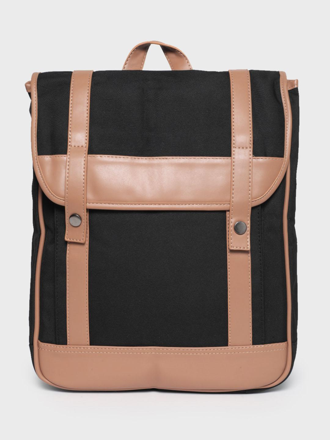 KOOVS Black Contrast Taping Structured Backpack 1