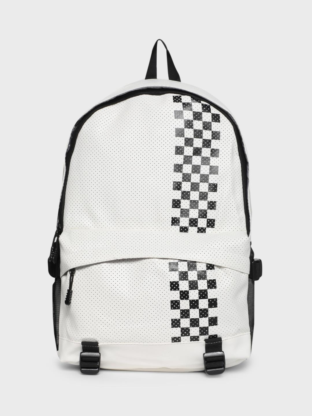 KOOVS White Perforated Checkerboard Print Backpack 1