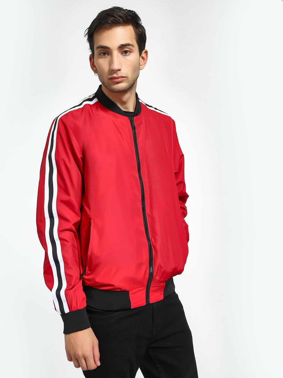 Brave Soul Red Contrast Side Tape Bomber Jacket 1
