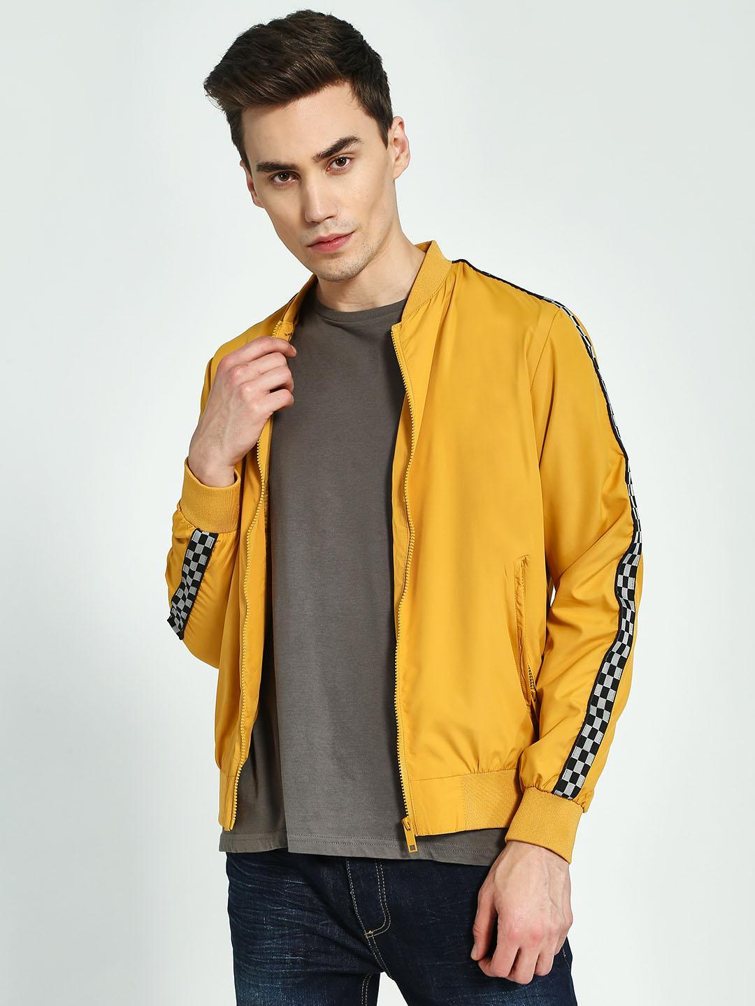 Brave Soul Yellow Side Check Tape Bomber Jacket 1