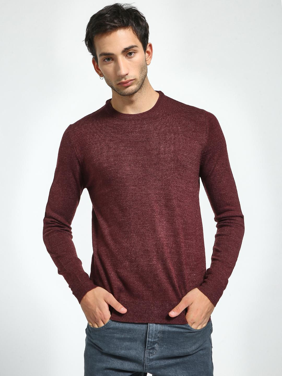 Brave Soul Maroon Crew Neck Knitted Pullover 1