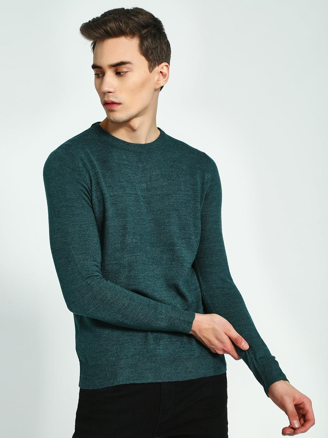 Brave Soul Green Crew Neck Knitted Pullover 1