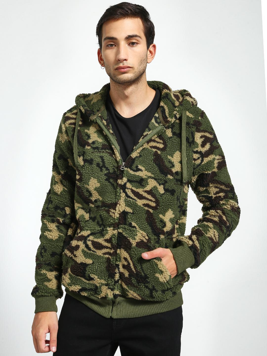 Brave Soul Multi Camo Print Hooded Jacket 1