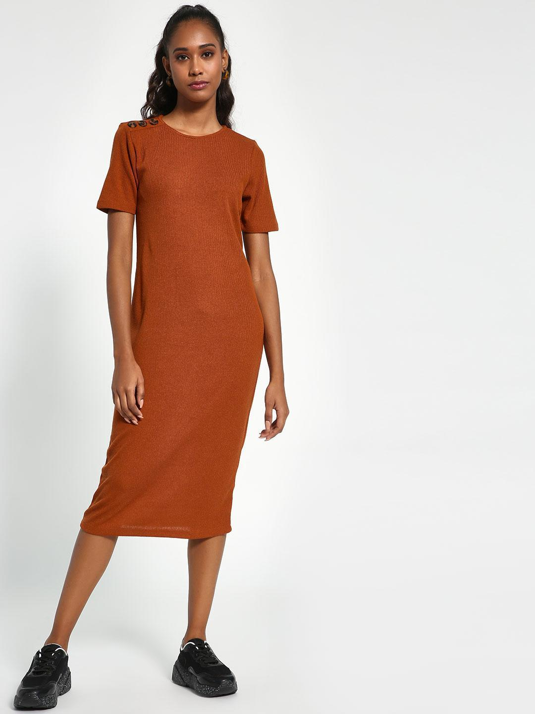 Sbuys Rust Shoulder-Button Ribbed Midi Dress 1