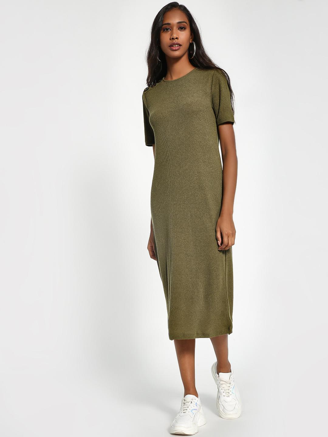 Sbuys Khaki Shoulder-Button Ribbed Midi Dress 1