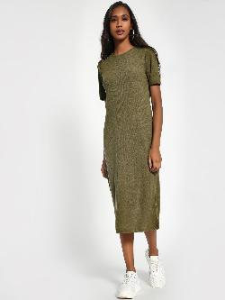 Sbuys Shoulder-Button Ribbed Midi Dress