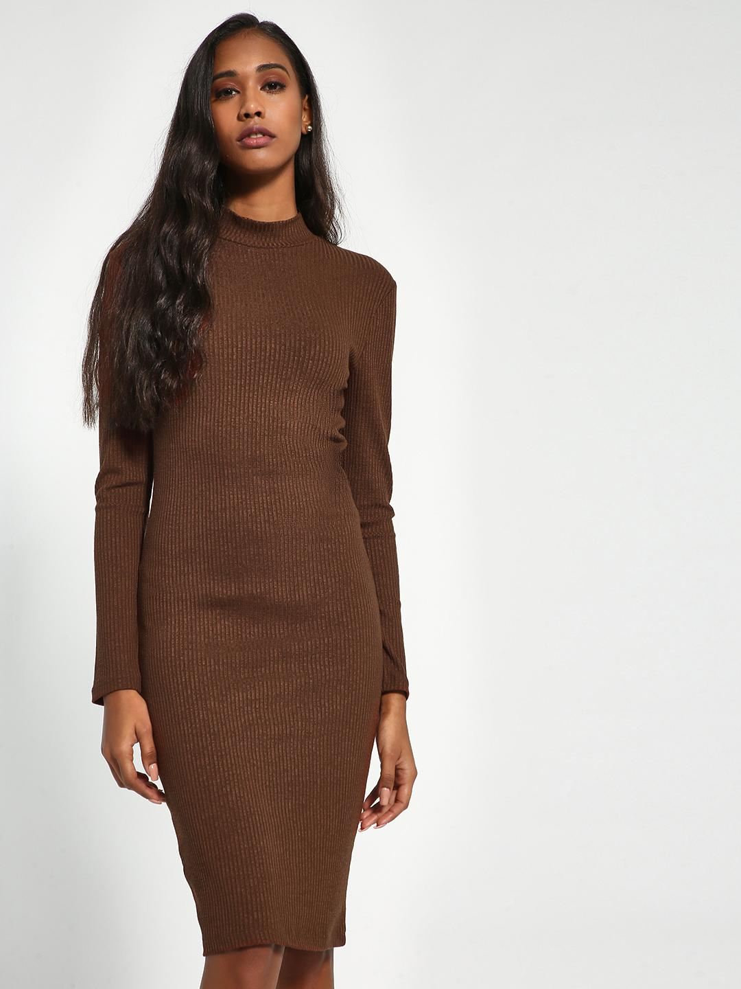Sbuys Brown Ribbed Long Sleeve Bodycon Dress 1
