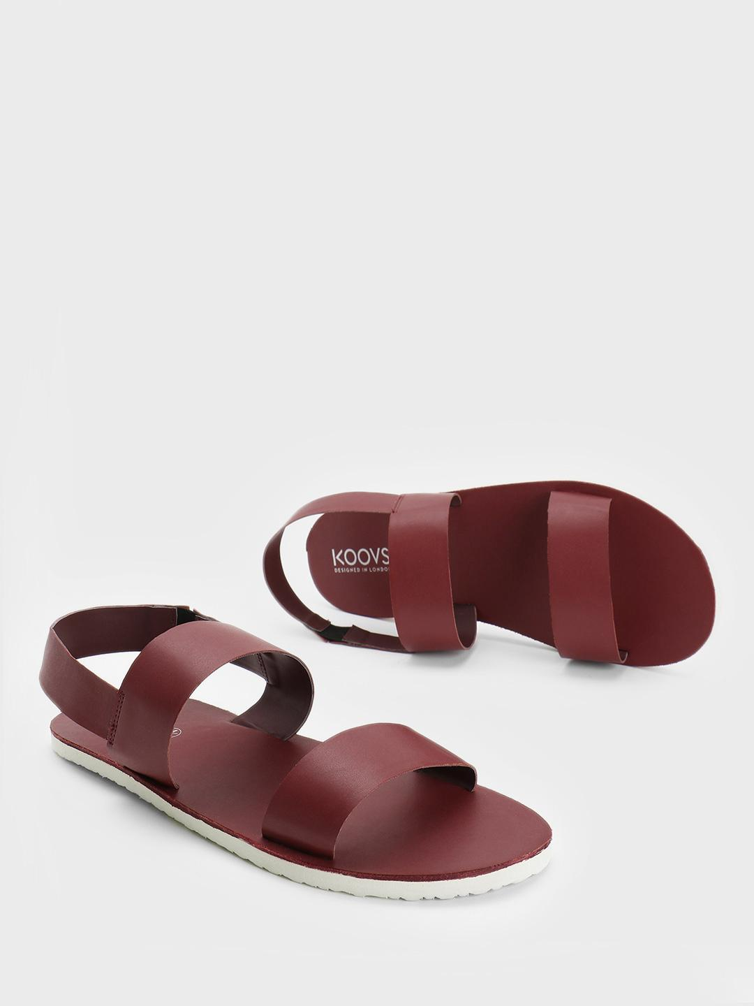 KOOVS Burgundy Double Strap Slingback Sandals 1