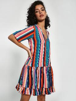 Closet Drama Stripe Frill Hem Shift Dress