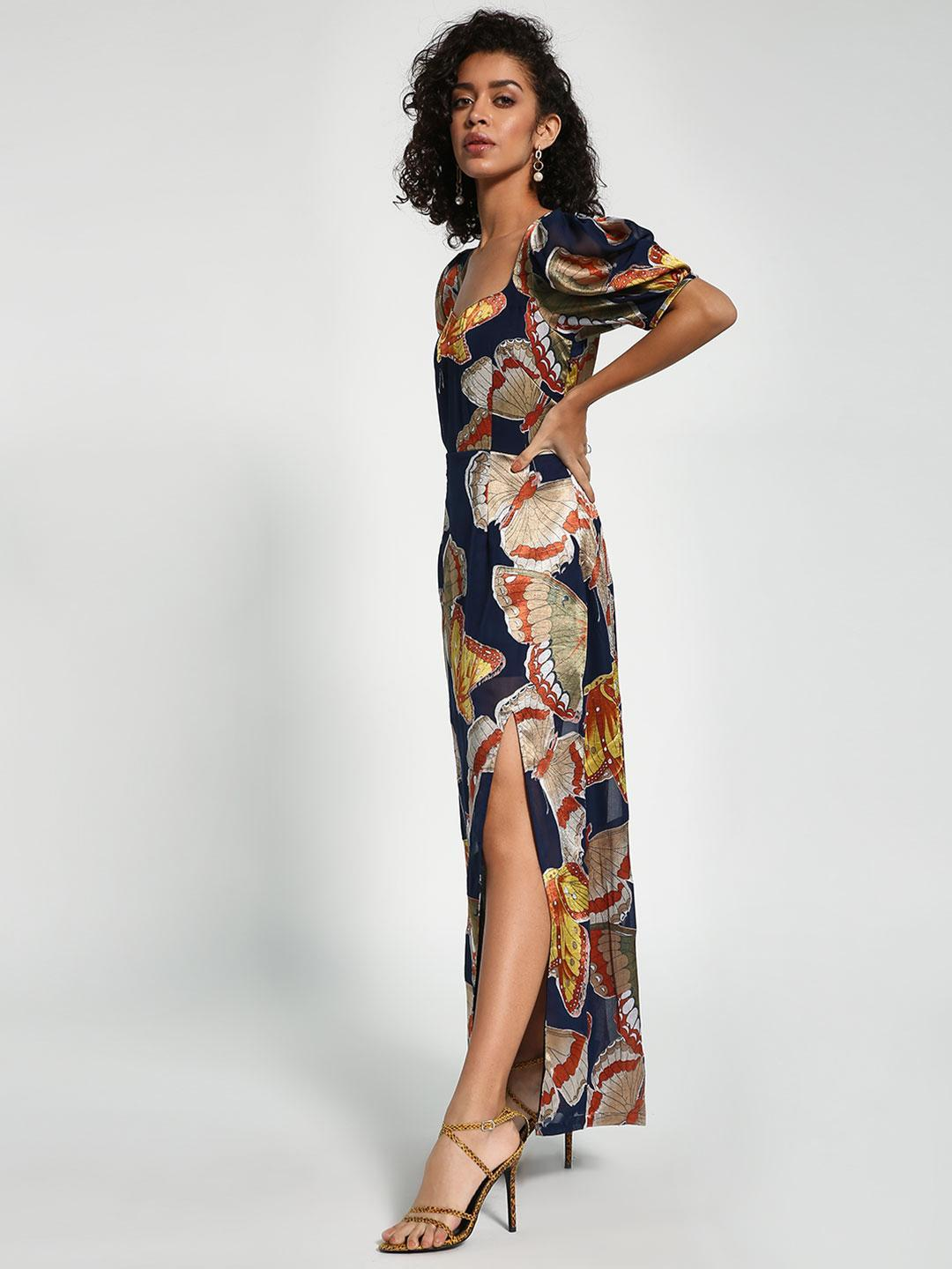 Closet Drama Multi Butterfly Print Satin Maxi Dress 1