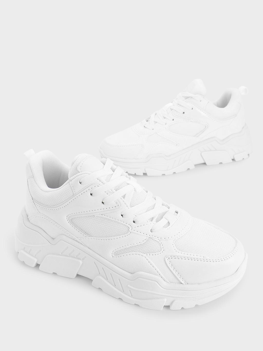 KOOVS White Suede Mesh Panel Trainers 1