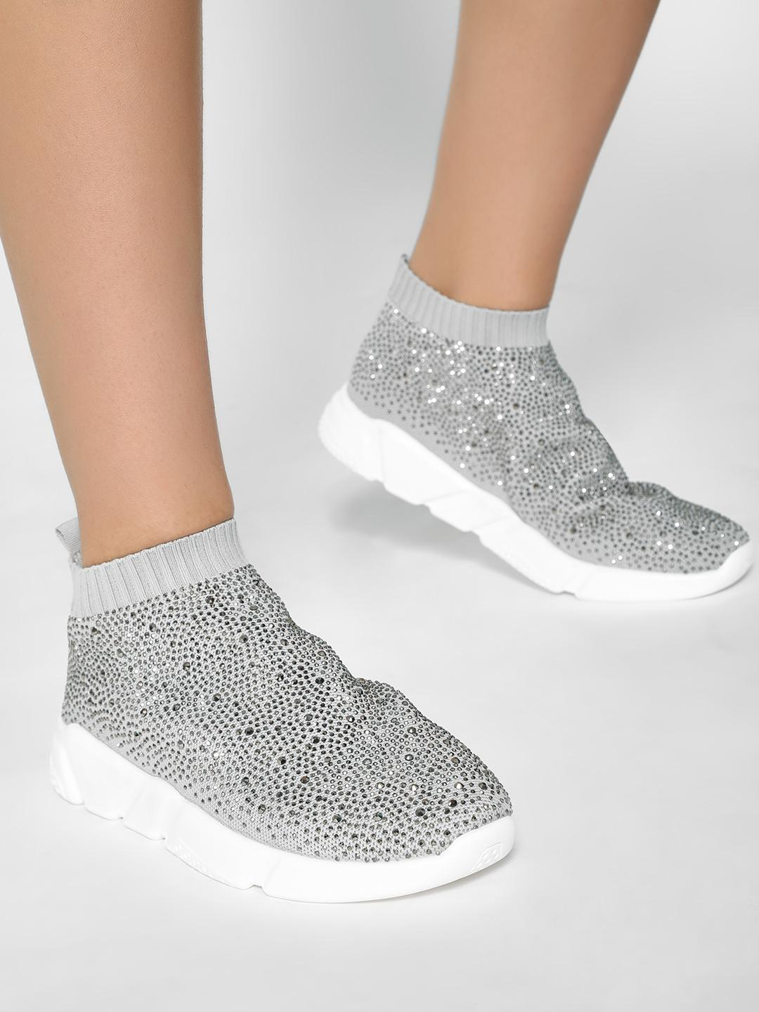 KOOVS Grey Diamante Embellished Sockliner Trainers 1