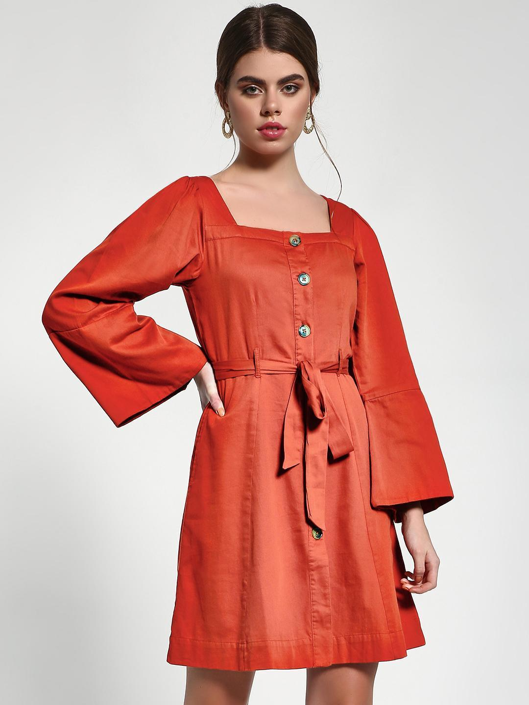 Sbuys Rust Square Neck Button-Down Shift Dress 1