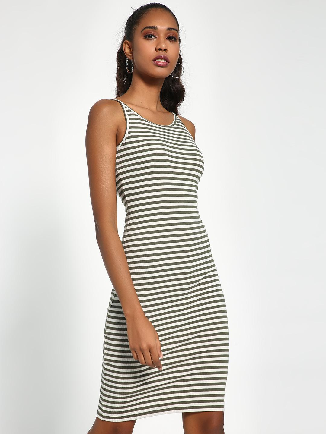 Sbuys White/Green Horizontal Striped Ribbed Bodycon Dress 1