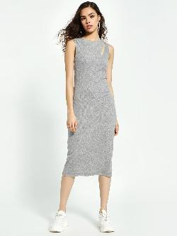 Sbuys Cut-Out Ribbed Midi Dress