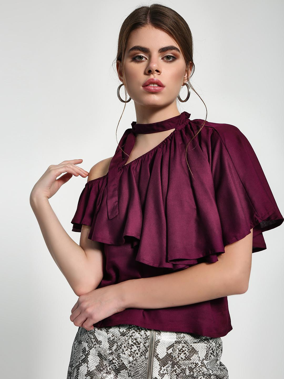 Sbuys Wine Tie-Up One Shoulder Layered Blouse 1