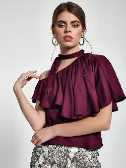 Sbuys Tie-Up One Shoulder Layered Blouse