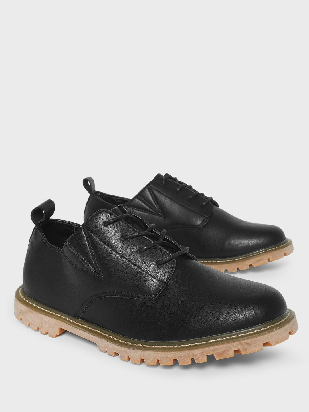 KOOVS Black Cleated Sole Boots 1