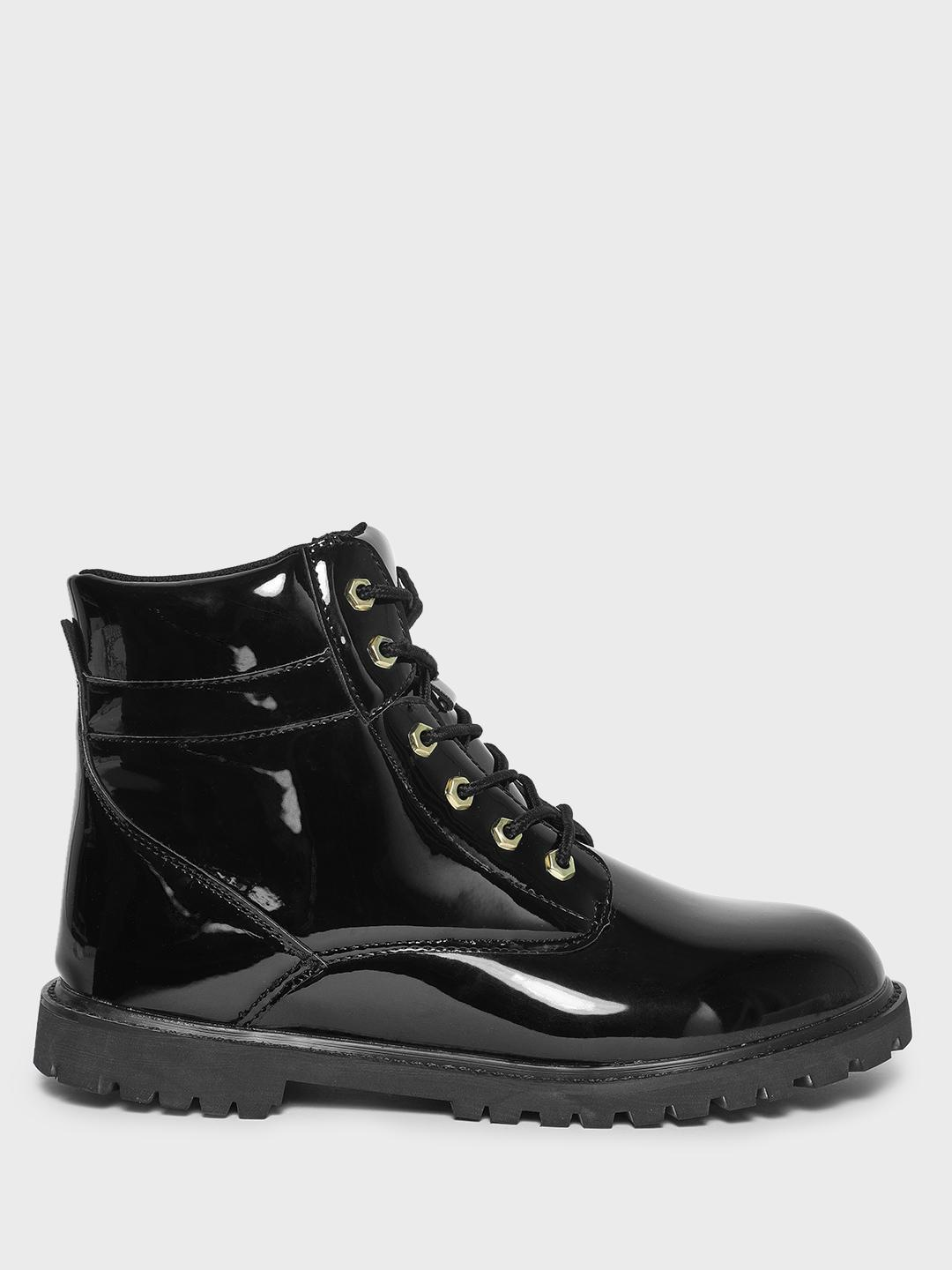 KOOVS Black Cleated Sole Lace-Up Boots 1