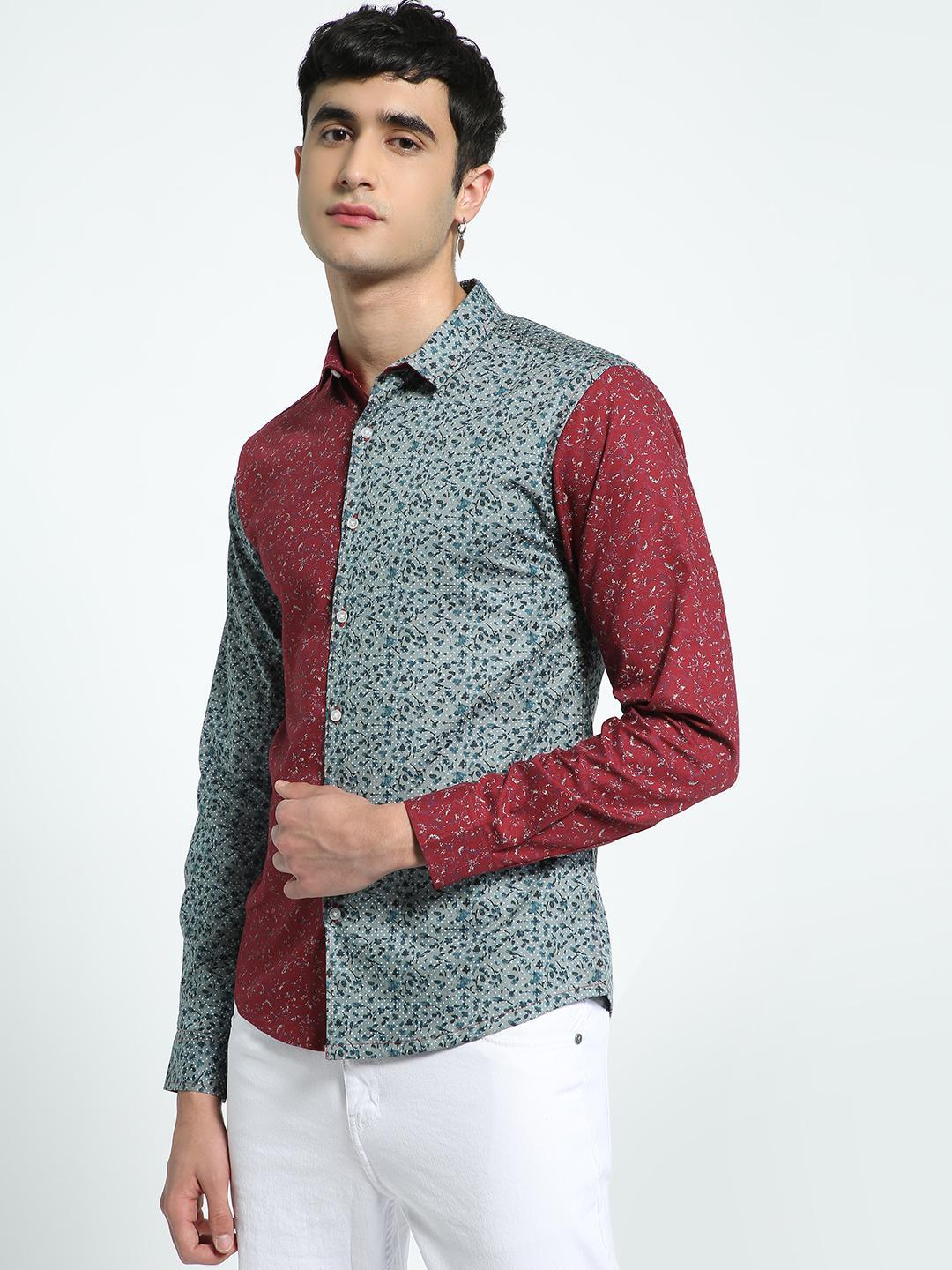 KOOVS Multi Ditsy Floral Print Spliced Shirt 1