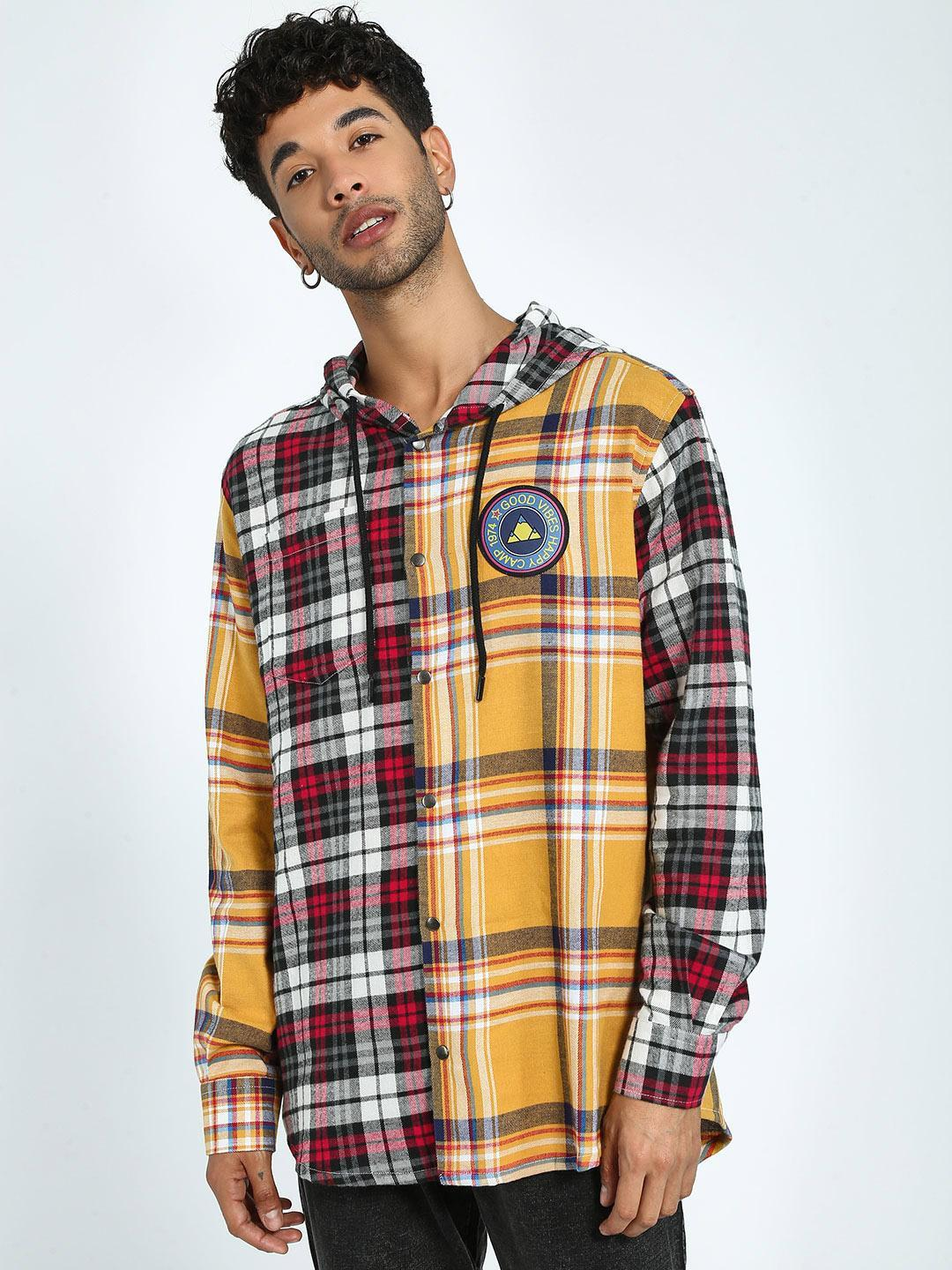 KOOVS Multi Spliced Flannel Check Hooded Shirt 1