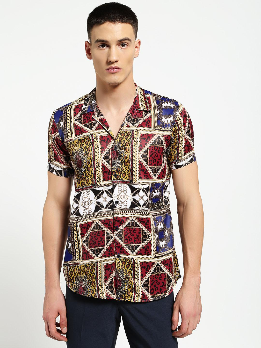 AMON Multi Baroque Chain Print Cuban Shirt 1