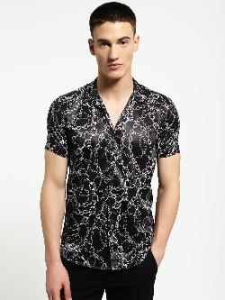AMON Chain Print Cuban Collar Shirt