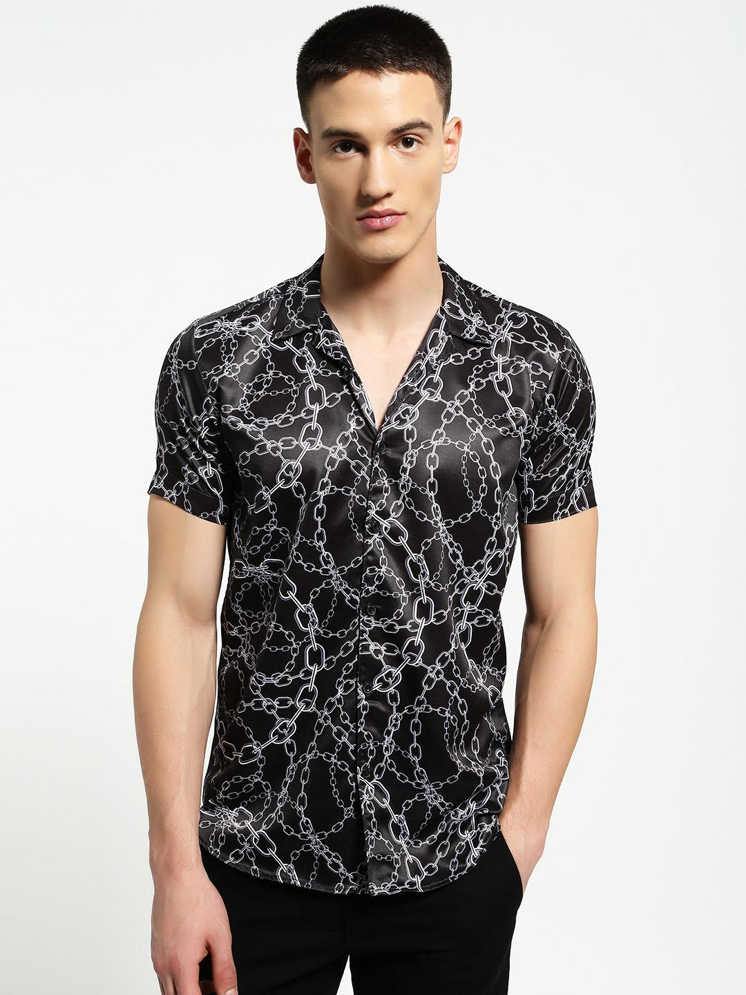 AMON Multi Chain Print Cuban Collar Shirt 1