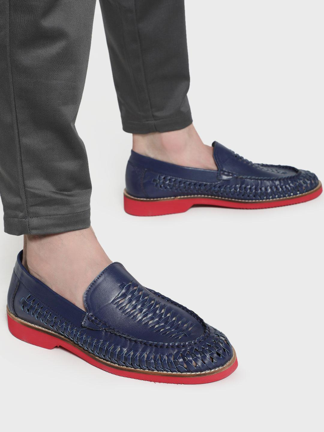 Bolt Of The Good Stuff Blue Basket Weave Contrast Sole Loafers 1