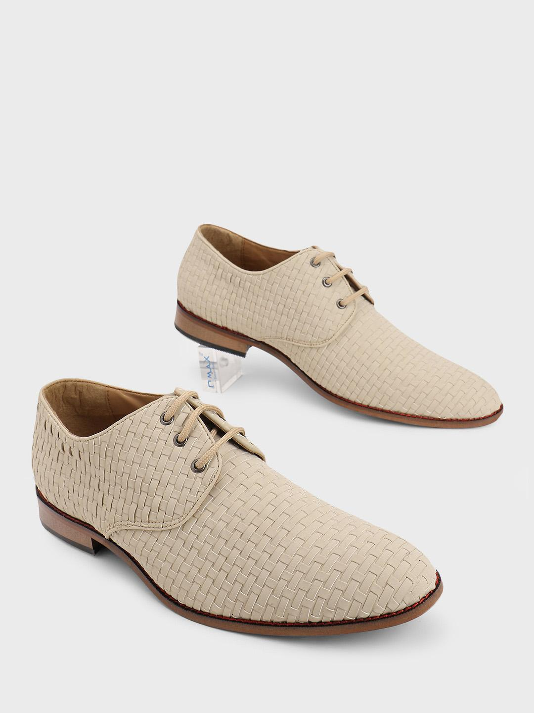 Bolt Of The Good Stuff Off White Basket Weave Derby Shoes 1