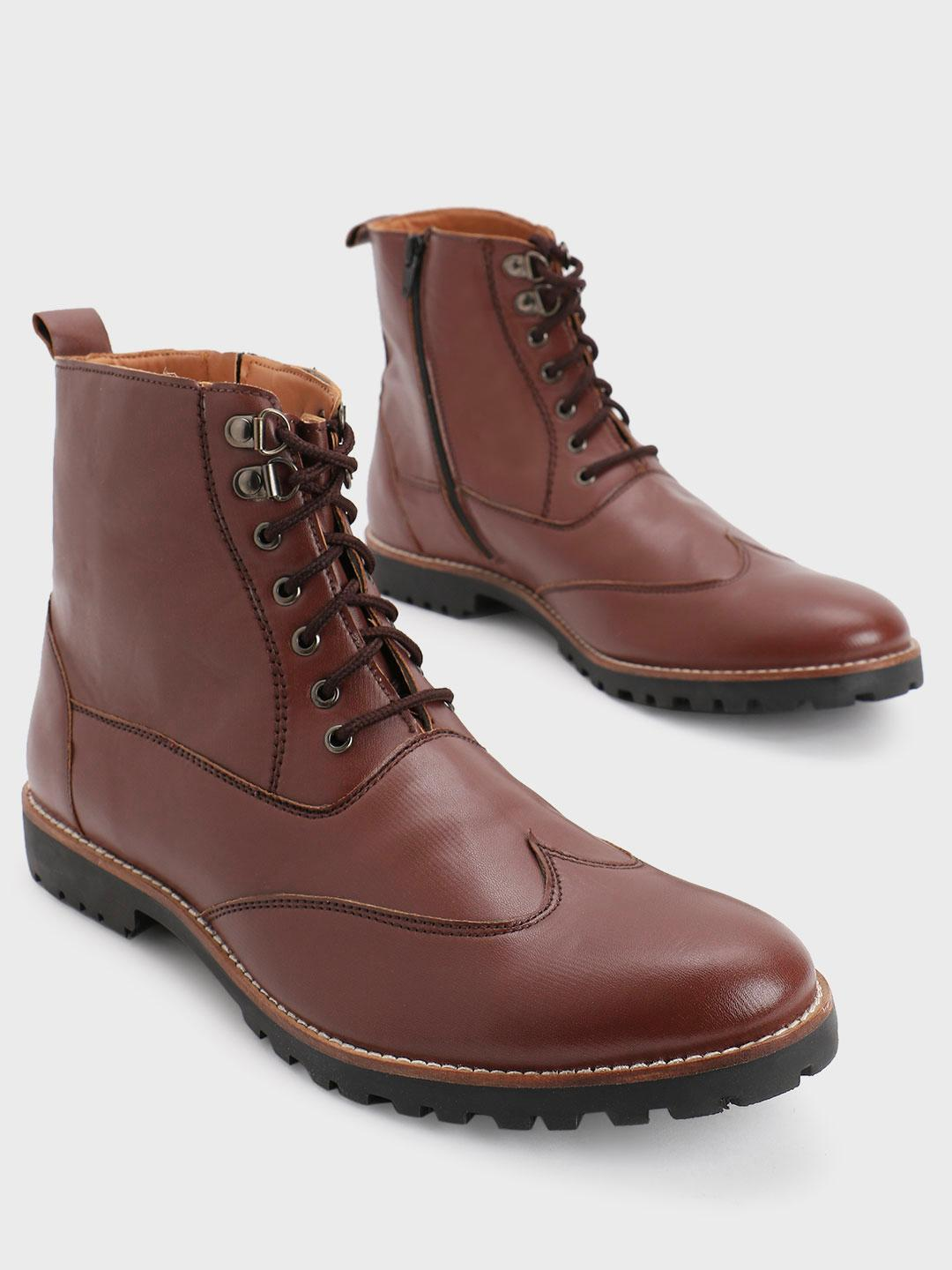 Bolt Of The Good Stuff Brown Mid Top Lace-Up Boots 1