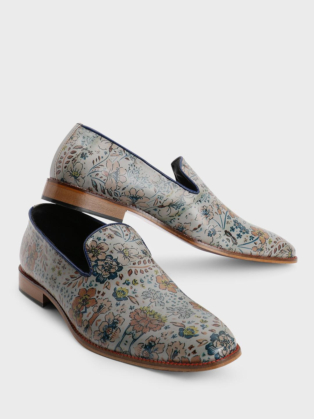 Bolt Of The Good Stuff Grey Floral Art Print Loafers 1