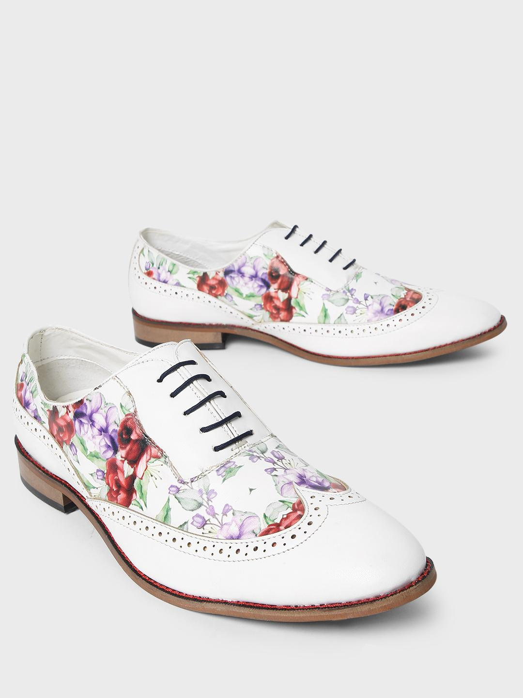 Bolt Of The Good Stuff White Floral Print Brogue Derby Shoes 1