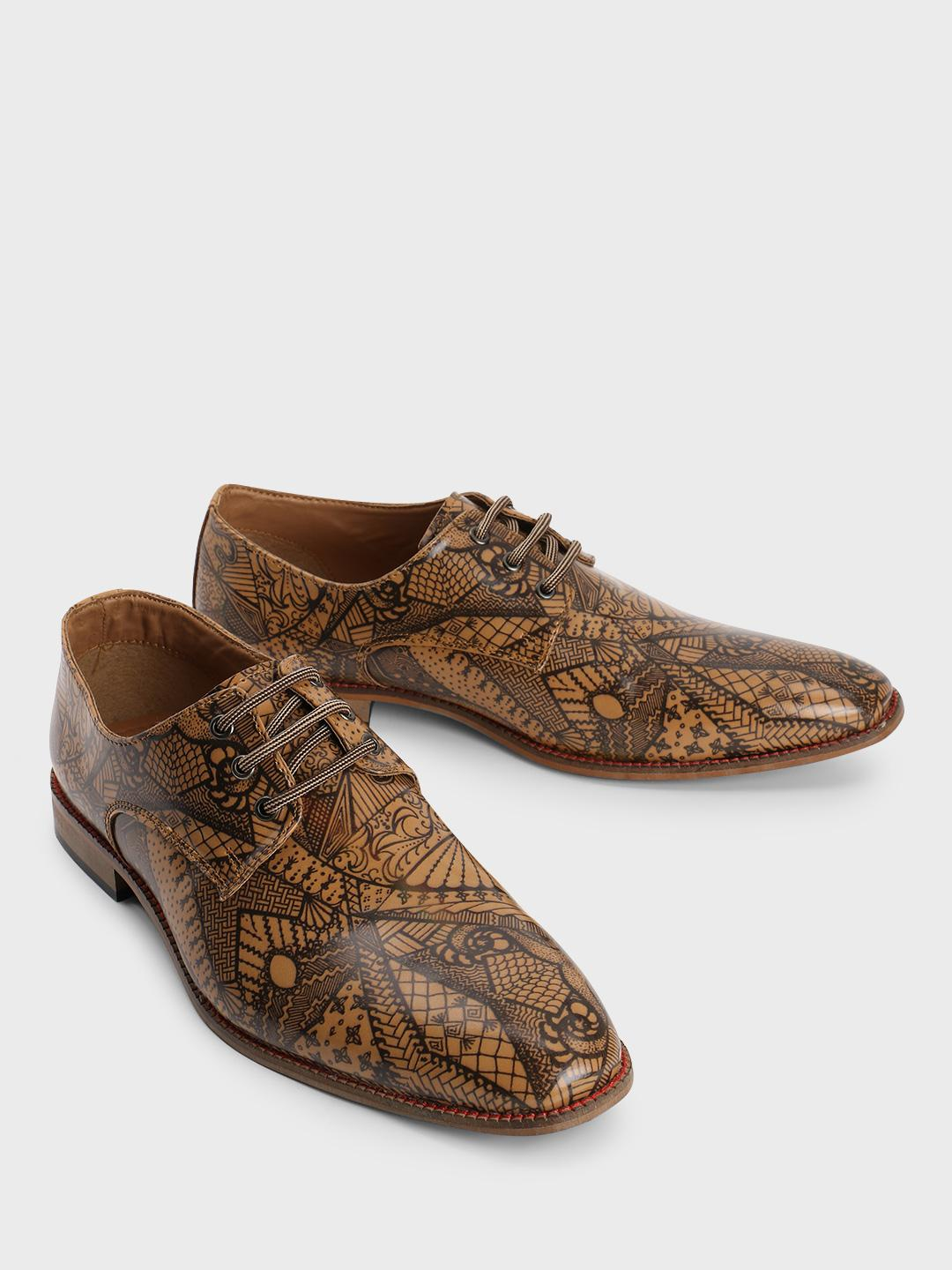 Bolt Of The Good Stuff Brown Tribal Print Derby Shoes 1