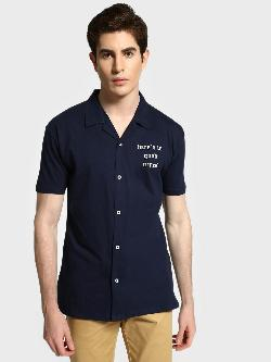 Garcon Slogan Print Cuban Collar Shirt