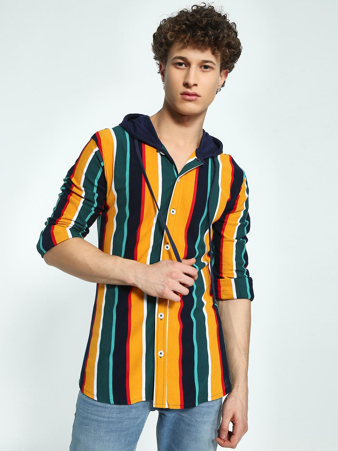 Garcon Black Pique Yarn Dyed Striped Hooded Shirt 1