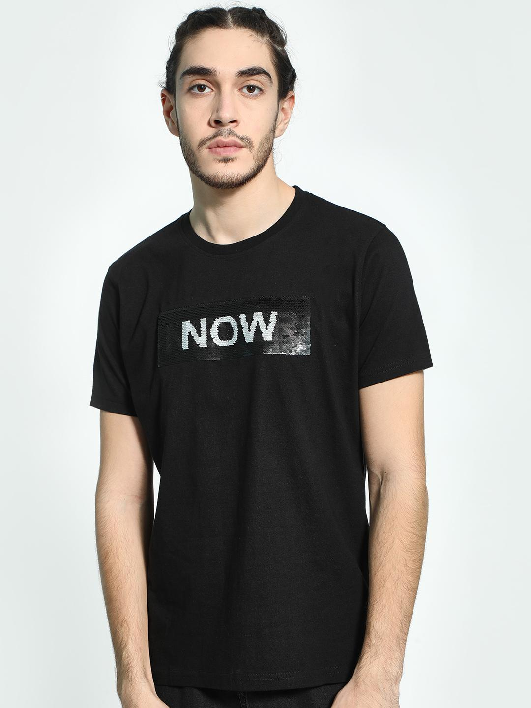 Garcon Black Text Sequin Flip T-Shirt 1