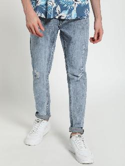 TRUE RUG Distressed Light Wash Slim Jeans