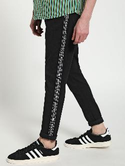 TRUE RUG Contrast Slogan Side Tape Slim Jeans