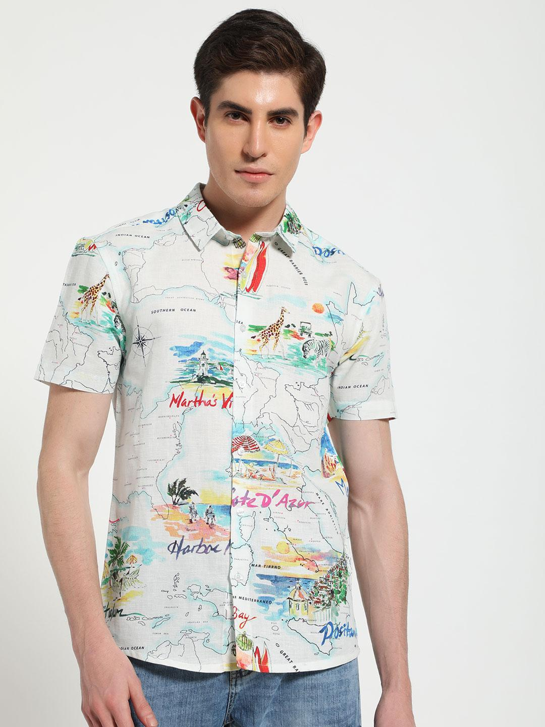 TRUE RUG Multi World Map Print Shirt 1