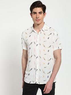 TRUE RUG All Over Feather Print Shirt