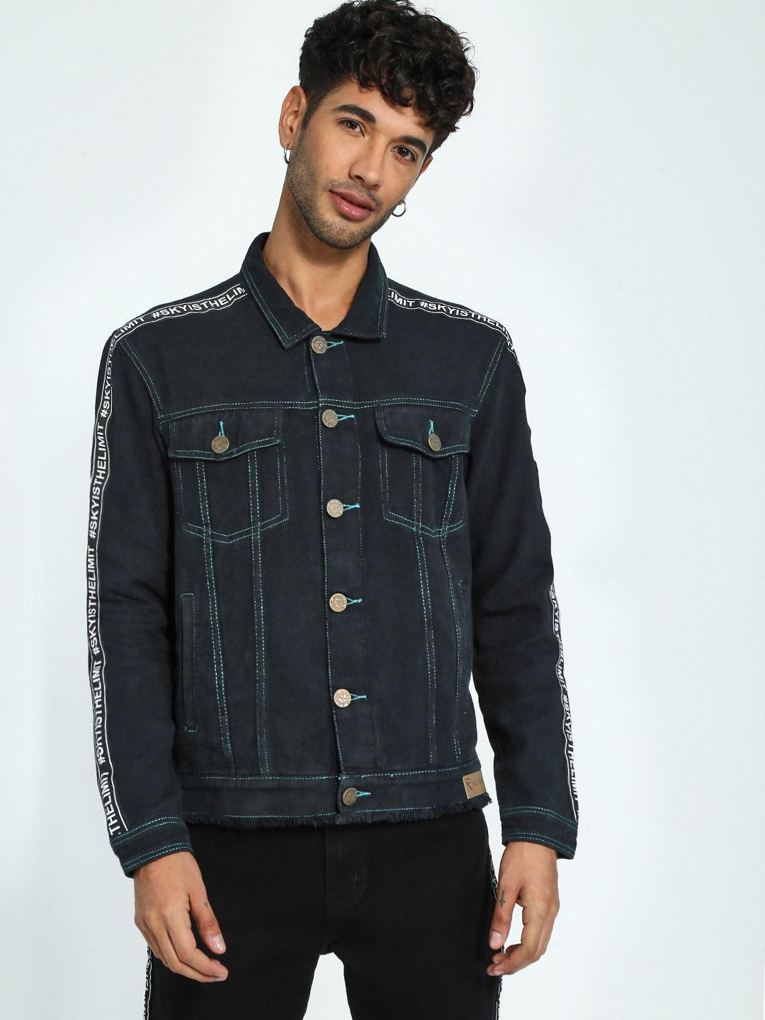 TRUE RUG Black Text Tape Denim Jacket 1