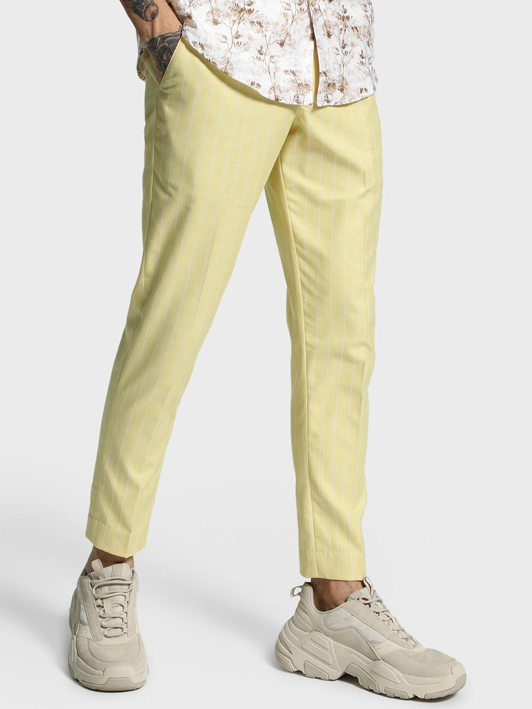 Mr Button Yellow Pinstripe Woven Cropped Slim Trousers 1