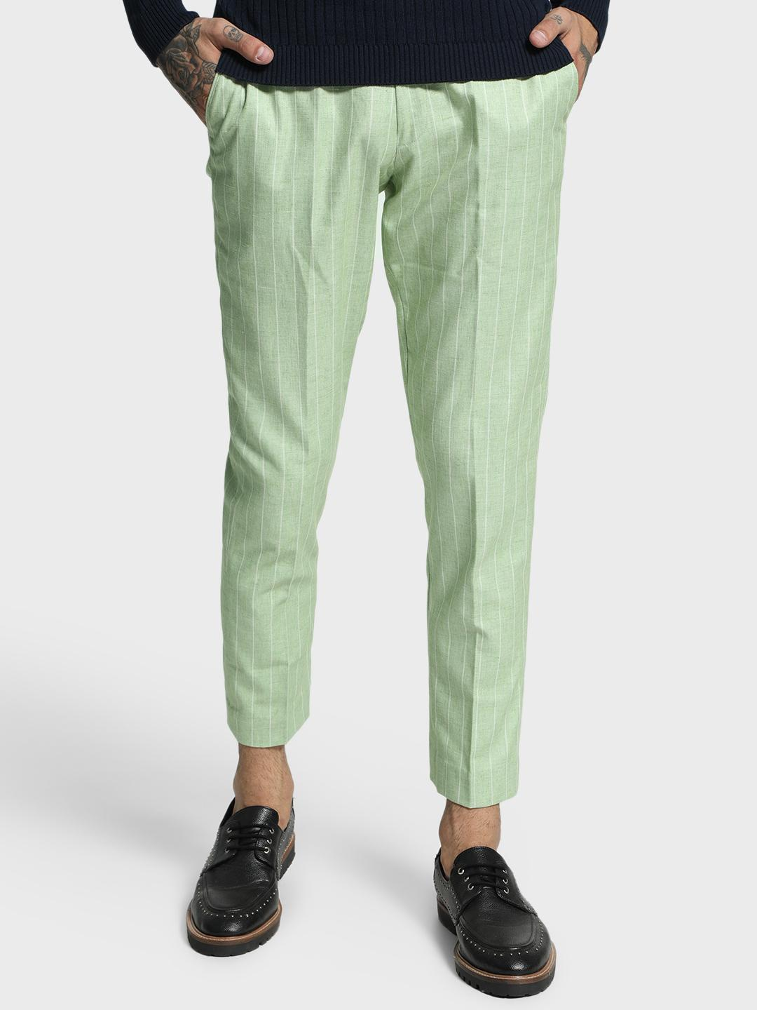 Mr Button Green Pinstripe Woven Cropped Slim Trousers 1