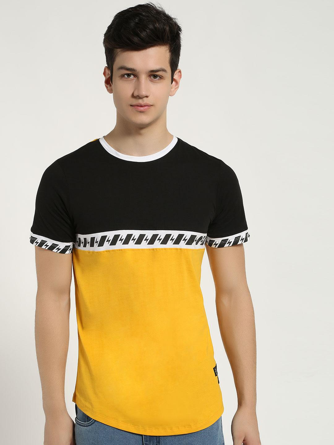 Kultprit Yellow Colour Block Printed Tape T-Shirt 1