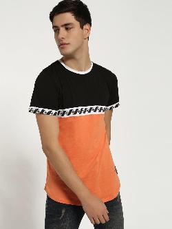 Kultprit Colour Block Printed Tape T-Shirt