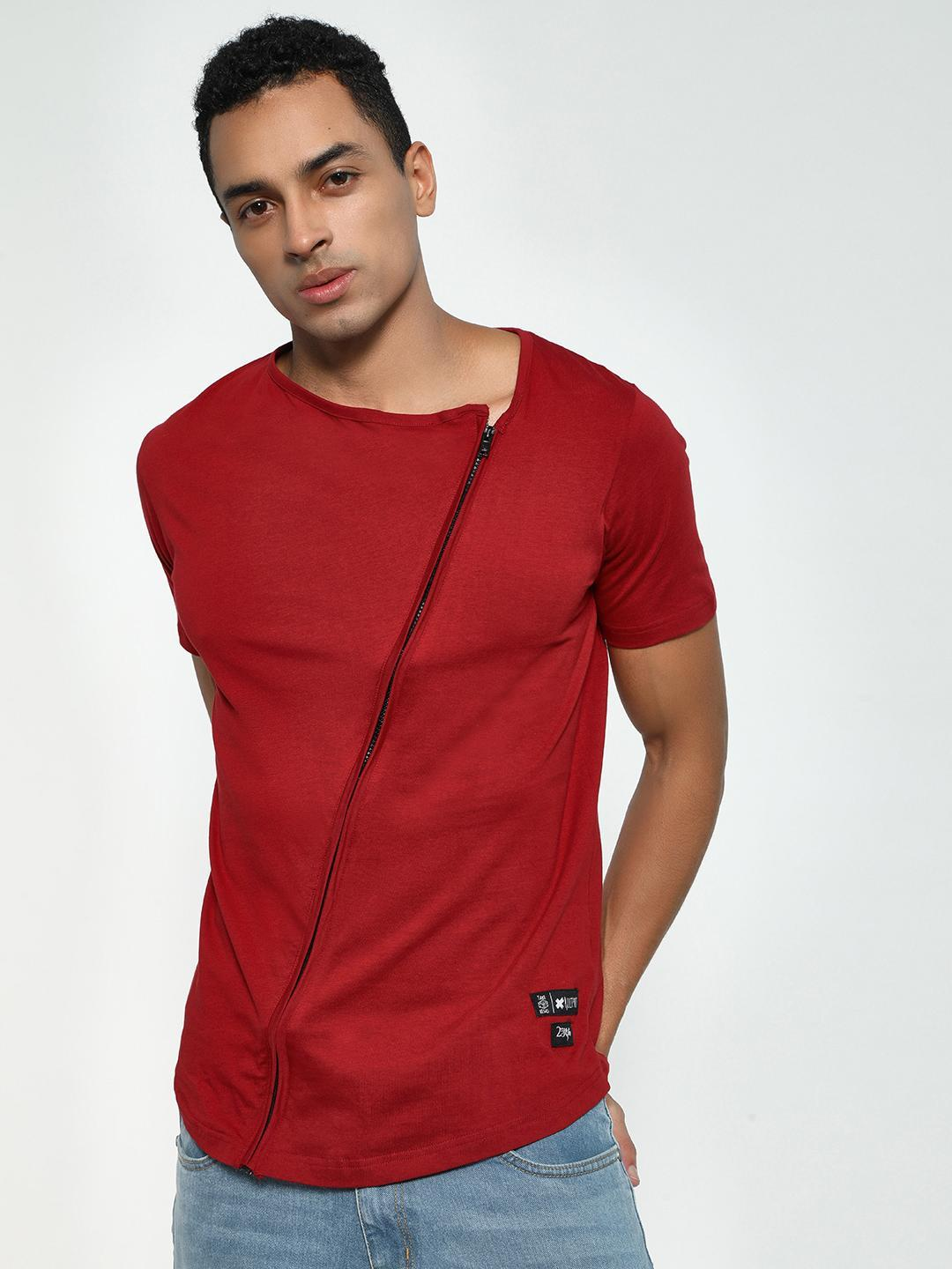 Kultprit Red Asymmetric Zipper Front T-Shirt 1