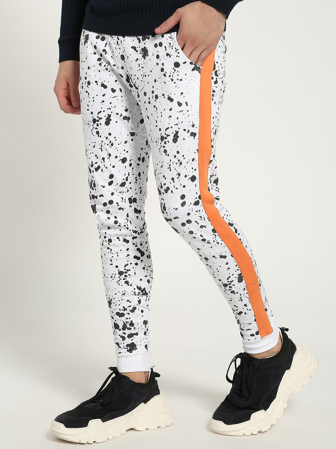Kultprit White Splatter Print Side Tape Joggers 1