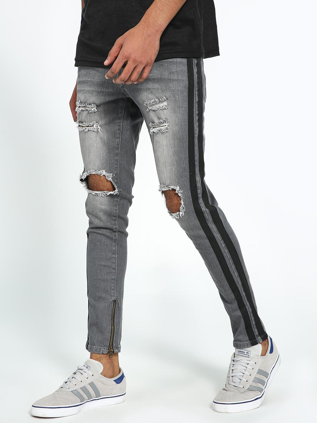Kultprit Grey Side Tape Washed Ripped Skinny Jeans 1
